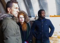 Actors Elvis Stojko, Paige Foskett, and Kenneth Bemister observe the fury of Canadian winter as Kurdt Waidmann, Amy, and Manny!