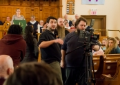 Actor Kenneth Bemister, Production Manager Katie Ryan, Make-up Artist Jocelyn Santos, Director Lee Foster, Producer Ryan Kobold, and lighting guru extraordinaire Aaron Peacock amidst the congregation of St. Paul's United Church, Bowmanville, Ontario!