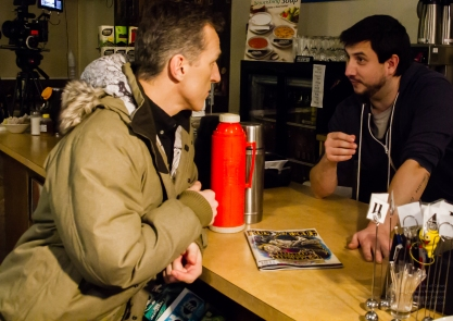 Actor Elvis Stojko takes direction from Director Lee Foster between takes!
