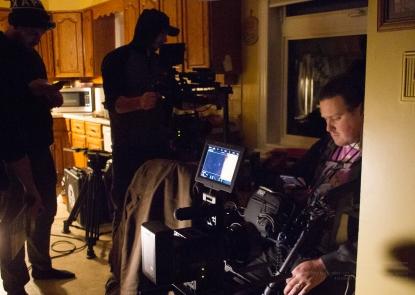 Crew members Andrew Gerhold, Bryan Piggott, and Reid Goobie preparing for the next scene!