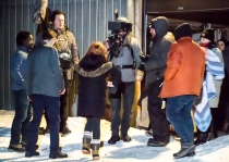 Cast and crew, fairly close to freezing to death between takes!