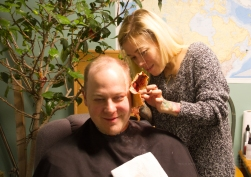 Make-up artist Angelica Avendaño removes appliances from fresh victim Ted Paulsen's face!