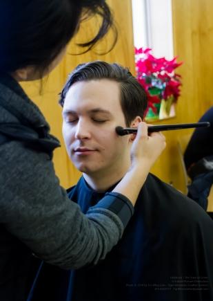Actor Damien Doepping in Make-Up Artist Jocelyn Santos' make-up chair!