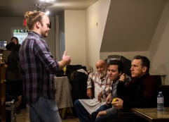 Actors Michael Buchanan, Damien Doepping, and Elvis Stojko are entertained by Aaron Heels!