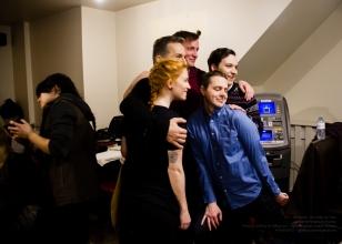 Actors Paige Foskett, Elvis Stojko, Robert Notman, Liam Murphy, and Damien Doepping pose for photos behind the scenes!