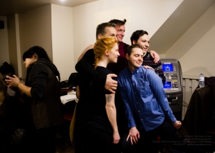 Actors Paige Foskett, Elvis Stojko, Robert Notman, Liam Murphy, and Damien Doepping pose for photos behind the scenes!