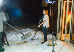 PM Katie Ryan prepares to shoot us all for making her act outside in weather far below zero!