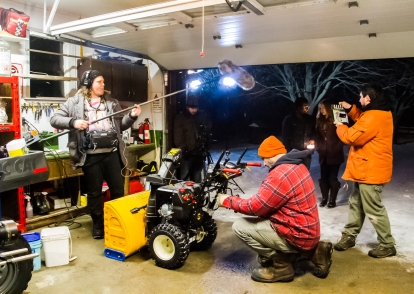 Actor Ryan Way wages war with a snow blower while sound guy Reid Goobie, Grip Aaron Peacock, Actors Kenneth Bemister and Jacqueline Godbout, and Director Lee Foster prepare for the scene!