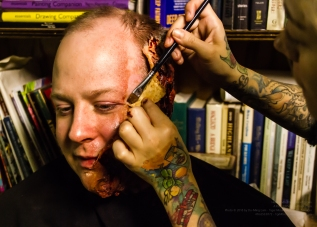 Actor Ted Paulsen having his gore applied by Make-Up Artist Angelica Avendaño!
